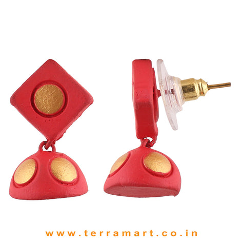 Red - Gold color Handmade Terracotta jumka