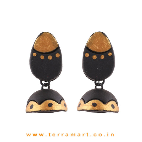 Gold and Black color Handmade Terracotta Jumka