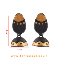 Gold & Black colour Handmade Terracotta jumka - Terramart Jewellery