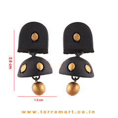 Stylish Black & Gold colour Handmade Terracotta jumka  - Terramart Jewellery