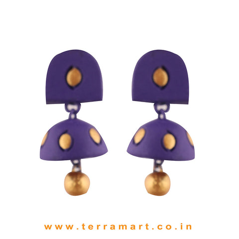 Stylish Violet & Gold  colour Handmade Terracotta  jumka