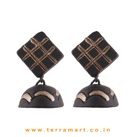 Black & Brozen colour Handmade Terracotta  jumka  - Terramart Jewellery