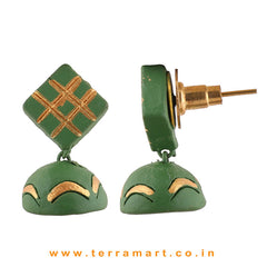 Stylish Sap Green &Gold colour Handmade Terracotta  jumka  - Terramart Jewellery