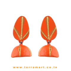 Orange & Gold colour Handmade Terracotta  jumka