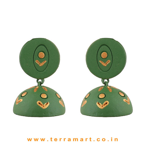 Pleasant Sap Green and Gold colour Handmade Terracotta jumka