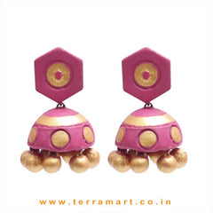 Grand Pink & Gold colour Handmade Terracotta jumka  - Terramart Jewellery