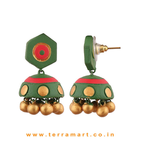 Red, SapGreen, Gold colour Handmade Terracotta jumka