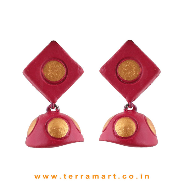 Nicely designed Pink & Gold colour Handmade Terracotta jumkas