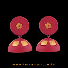 Fine designed Pink & Gold colour Handmade Terracotta jumka
