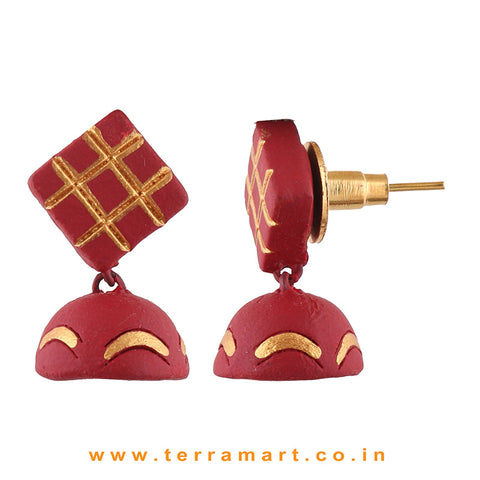 Checked designed Maroon & Gold colour Handmade Terracotta jumka