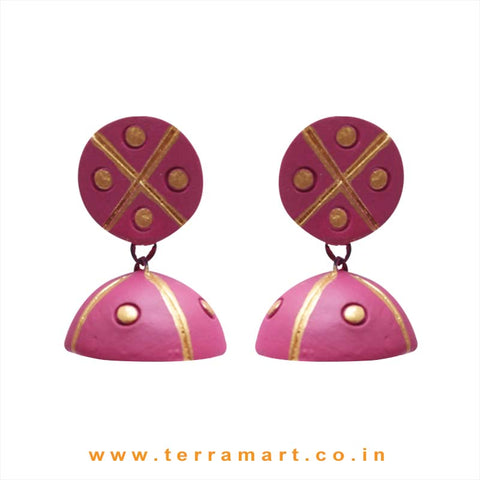 Good looking Pink & Gold colour Handmade Terracotta jumkas - Terramart Jewellery