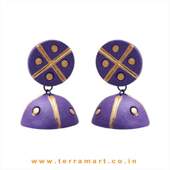 Good looking Violet & Gold colour Handmade Terracotta jumkas - Terramart Jewellery