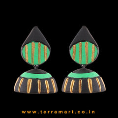 Artistic Black, Parrot Green & Gold colour Handmade Terracotta jumka