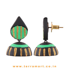 Artistic Black, Parrot Green & Gold colour Handmade Terracotta jumka - Terramart Jewellery