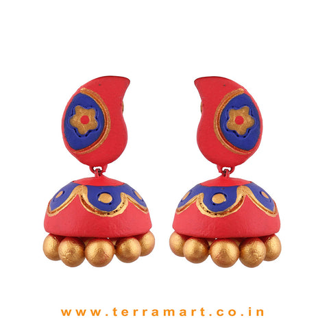 Traditional Red, Navyblue and Gold colour Handmade Terracotta jumka