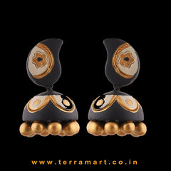 Traditional Black, Sandal & Gold colour Handmade Terracotta jumka - Terramart Jewellery