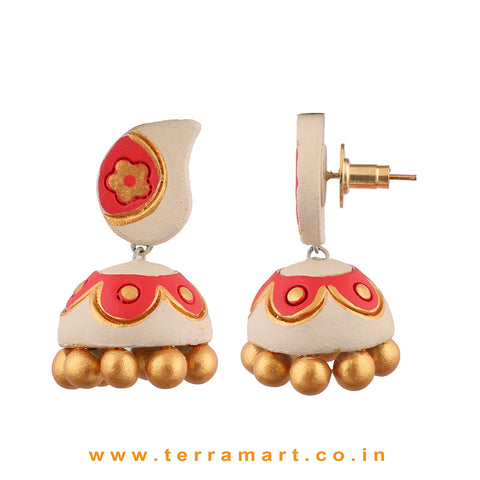 Traditional Gold, Sandal and Red colour Handmade Terracotta jumka
