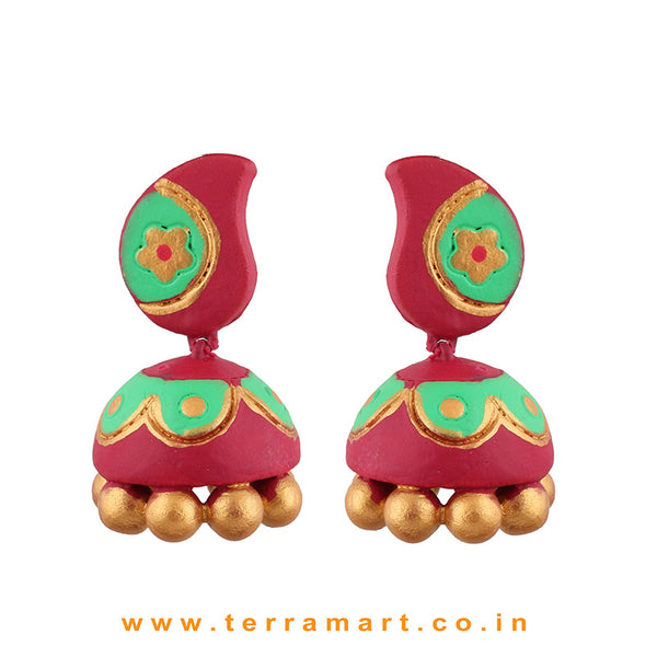 Traditional Pink, ParrotGreen and Gold colour Handmade Terracotta jumka