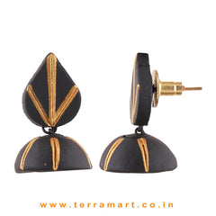 Black & Gold colour Handmade & Hand painted Terracotta jumka - Terramart Jewellery