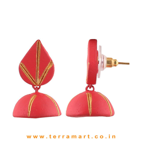 Red & Gold colour Handmade & Hand painted Terracotta jumka