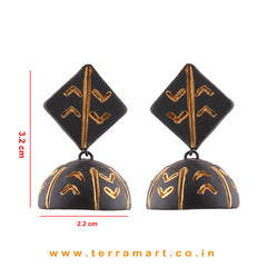 Pretty Black & Gold colour Handmade Terracotta jumka - Terramart Jewellery