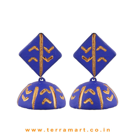Pretty Navyblue & Gold colour Handmade Terracotta jumka