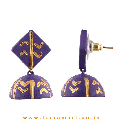 Pretty Violet & Gold colour Handmade Terracotta jumka
