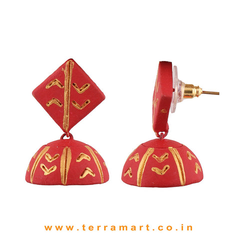Pretty Red & Gold colour Handmade Terracotta jumka