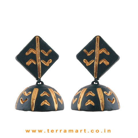 Pretty Dark Green & Gold colour Handmade Terracotta jumka
