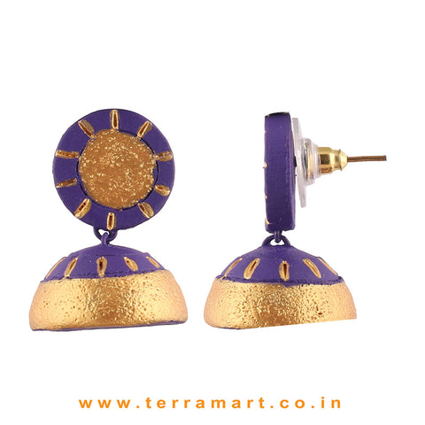 Traditional Violet and Gold colour Handmade Terracotta Jumka