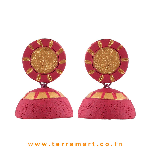 Traditional Pink and Gold colour Handmade Terracotta Jumka