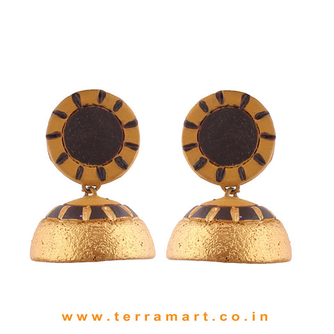 Traditional Mustard, Dark Brown and Gold colour Handmade Terracotta Jumka
