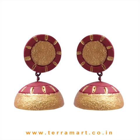 Traditional Gold and Maroon colour Handmade Terracotta Jumka
