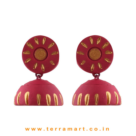 Likeable Pink & Gold colour Handmade Terracotta jumka