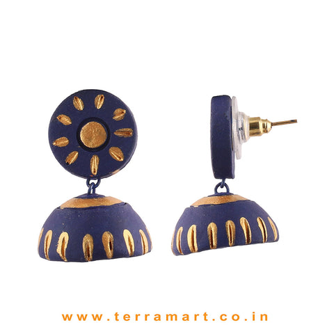 Likeable Navyblue & Gold colour Handmade Terracotta jumka