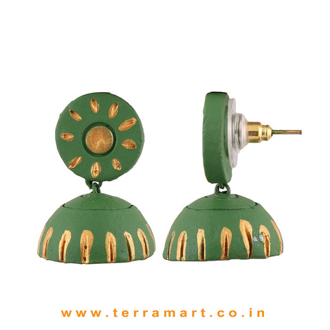 Likeable Sap Green & Gold colour Handmade Terracotta jumka