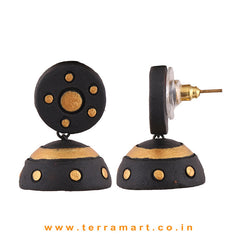 Charming Black & Gold colour Handmade Terracotta jumka  - Terramart Jewellery