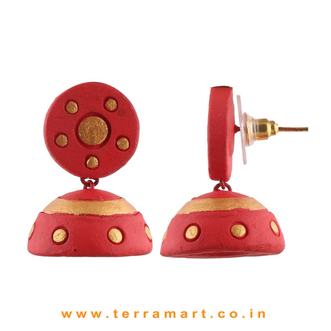 Charming Red & Gold colour Handmade Terracotta jumka