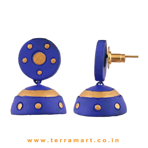 Charming Navyblue & Gold colour Handmade Terracotta jumka