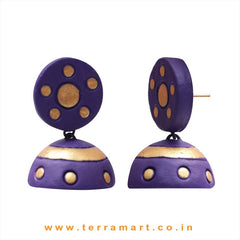 Charming Violet & Gold colour Handmade Terracotta jumka  - Terramart Jewellery