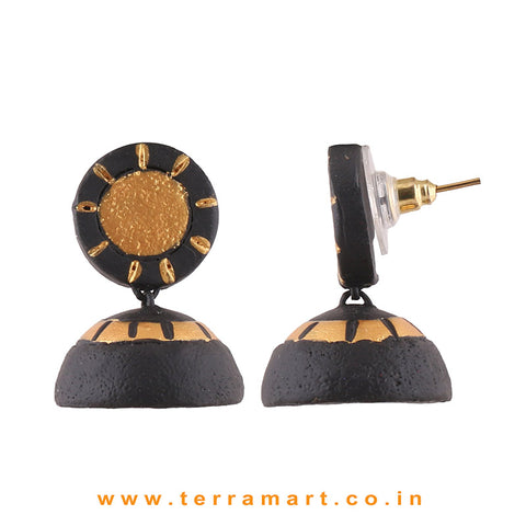 Traditional Black & Gold colour Handmade Terracotta jumka
