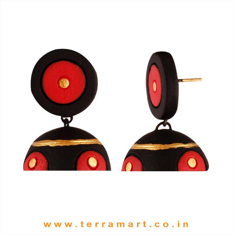 Nicely designed Black, Red & Gold colour Handmade Terracotta jumka