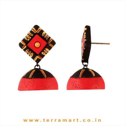 Delicate Desire Black, Red & Gold colour Handmade Terracotta jumka