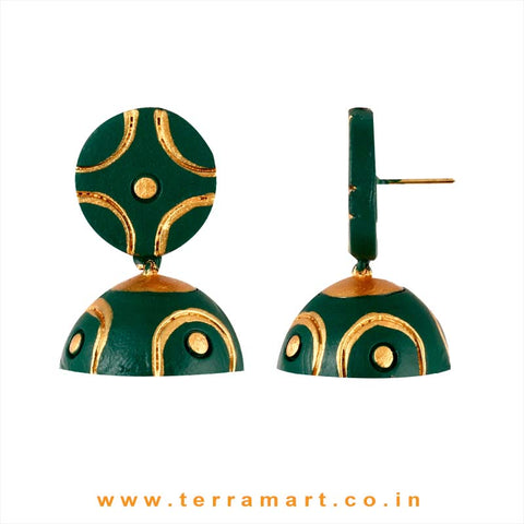 Fine designed Dark Green & Gold colour Handmade Terracotta jumka - Terramart Jewellery