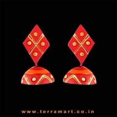 Fleeting Love Red, Orange & Gold colour Handmade Terracotta jumka - Terramart Jewellery