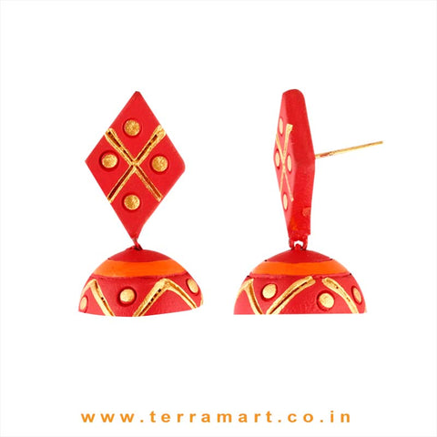 Fleeting Love Red, Orange & Gold colour Handmade Terracotta jumka