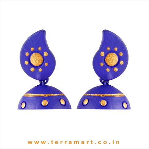Traditional Mango Design Blue & Gold colour Handmade Terracotta jumka - Terramart Jewellery