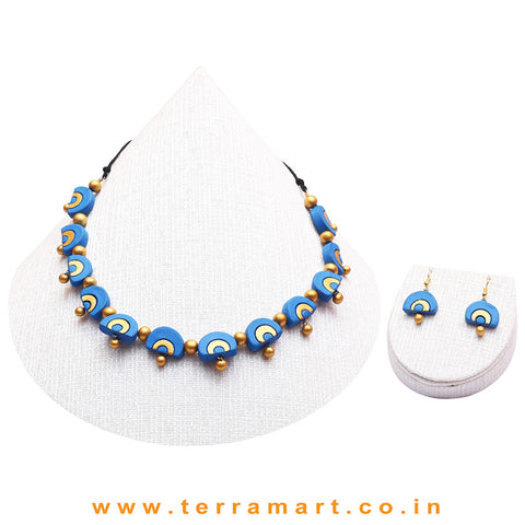 Sky Blue & Gold Colour Combinated Grand Necklace Set & Hook Earring - Terramart Jewellery