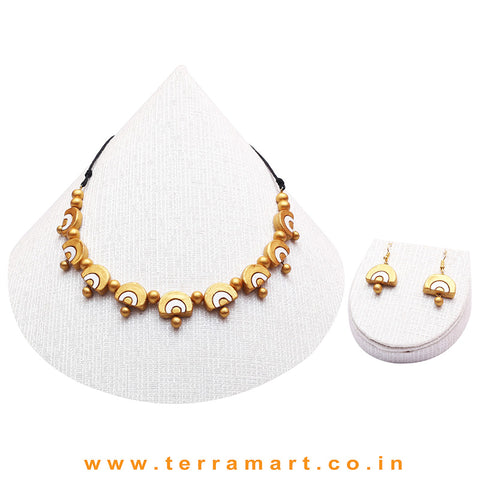 Gold & Whte Colour Combinated Grand Necklace Set & Hook Earring - Terramart Jewellery