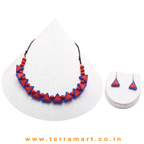 Navy Blue & Red Colour Combinated Grand Necklace Set & Hook Earring